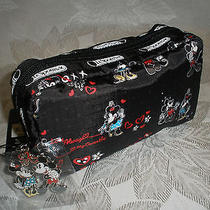 Lesportsac Disney Cosmetic Mickey Loves Minnie 6511 P265 With Charm Nwt Photo