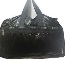 Lesportsac Distressed Black Patent Nylon Crossbody Shoulder Travel Gym Bag-Usa Photo
