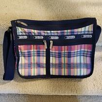 Lesportsac Everyday Messenger Bag Crossbody Plaid Blue Nylon Expandable Photo