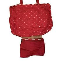 Lesportsac Everyday Red White Polka Dot Tote Shoulder Bag Plus Pouch Photo