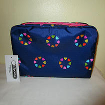 Lesportsac Extra Large Cosmetic Case Nwt Happy Hearts Pink 2245 Photo