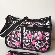 Lesportsac-Felicity Pink Black Flora Deluxe Everyday Messenger Bag W/ Pouch Nwt Photo