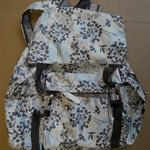 Lesportsac Giant Size Backpack Tan With Light Blue/gray Flowers-Euc Photo