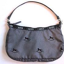 Lesportsac Gray Rocking Horse Embroidered Nylon Clutch Shoulder Handbag Purse Photo