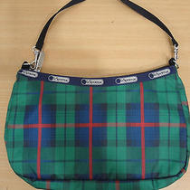 Lesportsac Green Blue Red Black Watch Plaid Nylon Sm Hobo Shoulder Bag Handbag  Photo