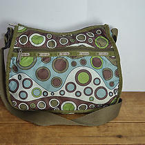 Lesportsac Green / Brown Multi Colored Mid Sized Nylon Shoulder Bag / Tote Bag Photo