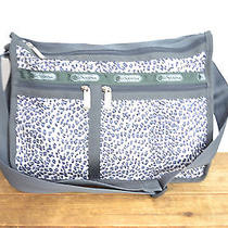Lesportsac Grey and Light Pink Leopard Print Deluxe Everyday Bag / Purse Photo
