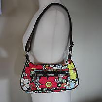 Lesportsac Handbag Small Floral Brown Pink Baguette Purse Crossbody Purse Mini Photo