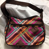 Lesportsac Hobo Purse Bag Ajustable Strap Two Zippered Sections on Outside  Photo
