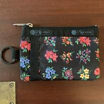 Lesportsac Id Card Case Key Mini Wallet Garden Trail Floral Black Flower Vguc Photo