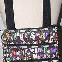 Lesportsac Kasey Crossbody Bag Black Logo/name Silly Pattern Photo