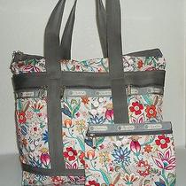 Lesportsac Large Gray Multicolor Indienne Flower Tote Purse/ Makeup Cosmetic Bag Photo