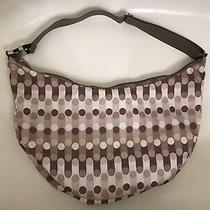 Lesportsac Large Hobo Travel Tote/shoulder Bag- Brown/white Dots Photo