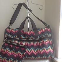 Lesportsac Large Shoulder Nylon Duffle Gym Tote Travel Bag Photo