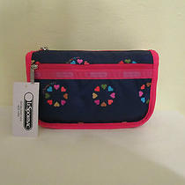 Lesportsac Large Travel Cosmetic Case Nwt Happy Hearts Pink 6502 Photo
