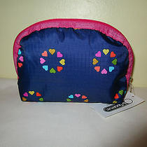 Lesportsac Medium Dome Cosmetic Case Nwt Happy Hearts Pink 8170 Photo