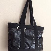 Lesportsac Medium Travel Tote Diaper Shoulder Bag Black Patent Photo