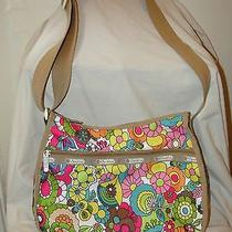 Lesportsacmod Floral Print Pink Tan Multi  Cosmetic bag&hobo Crossbody Purse Photo
