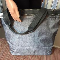 Lesportsac Modern Hailey Tote Bag Gun Metal Denim-Nwt Photo