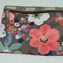 Lesportsac Multi-Color Floral Front Zip Clutch Cosmetic Bag Pouch Photo
