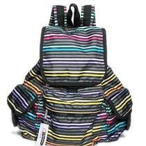 Lesportsac Multi-Color Striped Voyager Backpack Tote Photo