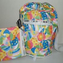 Lesportsac Multicolor Cricle Print or Reversible Navy Blue Sling Bag Tote Purse Photo