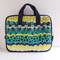 Lesportsac Nylon Briefcase Mod Colorful Print Nwot Blue Green Computer Bag Photo