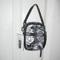 Lesportsac Paula Rose N Bows Wristlet Camera Ipod Phone Case  Gray White Front Photo