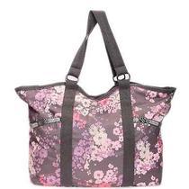 Lesportsac Purple Floral Print Carryall Travel Tote Shoulder Bag Photo