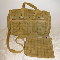 Lesportsac Purse Handbag Beige Pla Nylon Zippered Pouch Shoulder Bag Photo