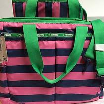 Lesportsac Ryan Baby Rugby Pink Blue Stripe Bag Tote W/ Changing Pad Nwt Photo