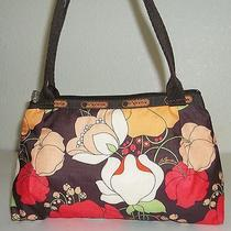 Lesportsac Small Brown Red Green & Yellow-Orange Flower Print Purse Handbag Bag Photo