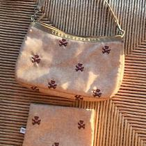 Lesportsac Small Tan Brown Hobo Teddy Bears & Matching Zipper Cosmetic Case Rare Photo