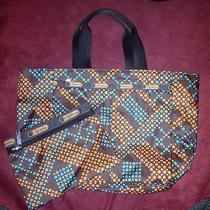Lesportsac Small Tote Bag Brown Orange Blue Dots Modern Geometric Nwot Photo