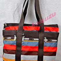 Lesportsac Small Travel Tote Bag Ready Brown Orange Stripe Shopper Purse Photo