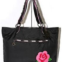 Lesportsac Tijuana Rose Oc 2006 Collection Large Black Carryall Tote Bag Photo