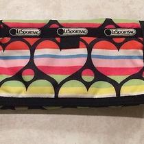 Lesportsac Trifold Wallet Velcro Closure Multi-Color Nylon Organizer Hearts Photo