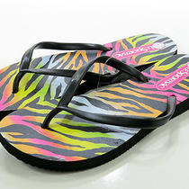 Lesportsac Womens Key West Shoes Black Neon Zebra Sandals Flip Flops S 5/6 M Photo