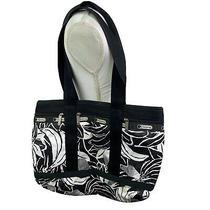 Lesportsac Womens Tote Black White Medium Shoulder Bag Carryall Appx 16x10