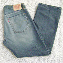 Levi 514 Slim Straight Blue Jeans  36x30    Distressed Finish Photo