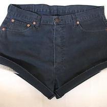 Levi High Waisted Shorts Size 16 Navy Blue Corduroy Grunge Hot Pants 551 Xl Photo