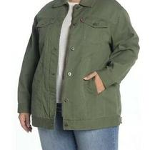 Levis 2x Plus Jacket Spread Collar Button Down Army Green Nwt Military Womens Photo