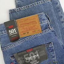 Levis 501 St Big E Mens W32/l32 Slim Taper Stretch Blue Button Fly Jeans 7082 Photo