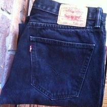Levi's 505 Jeans Black Regular Fit Straight Fit 34x33  Men's Photo