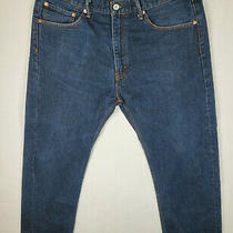 Levi's 505 Original Fit Straight Leg Dark Wash Denim Jeans Size 38 X 30 Blue Photo