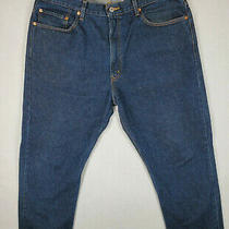 Levi's 505 Regular Fit Straight Leg Dark Wash Denim Jeans Size 40 X 30 Blue Cott Photo