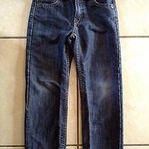 Levi's 514 Slim Straight Boys Jeans Size 7 Dark Blue Denim Wash Adj Waist Band Photo