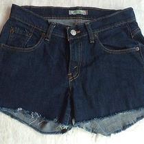 Levi's 529 Frayed Hem Flat Solid Dark Denim Jean Mini Shorts Womens Sz 6 M Curvy Photo