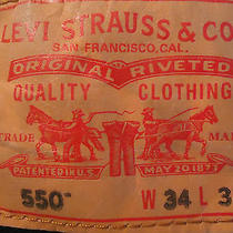 Levi's 550 Men's Relaxed Fit Tapered Leg Dark Black Denim Jeans Size 34x30  Photo
