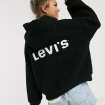 Levis Anna Sherpa Hoodie Nwt Meteorite Black Teddy White Logo on Back Photo